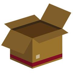 Boîte en carton déménagement flat design - Vecteur - Illustration