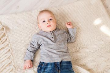 bright portrait of adorable baby boy