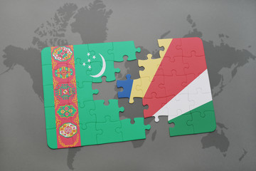 puzzle with the national flag of turkmenistan and seychelles on a world map