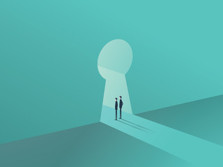 Business solution or success concept with two businessmen standing in keyhole shape door.