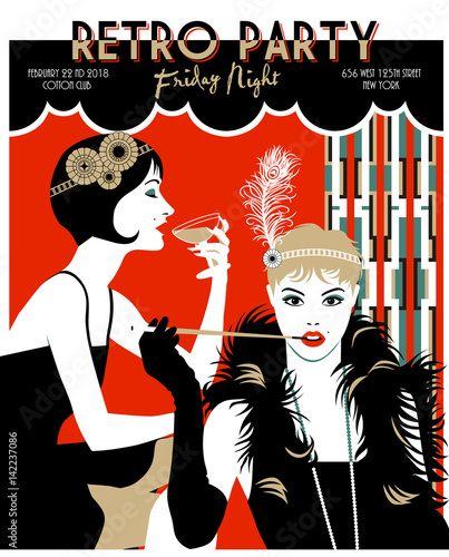 Flapper Girl With Mouthpiece And Cigarette Retro Party