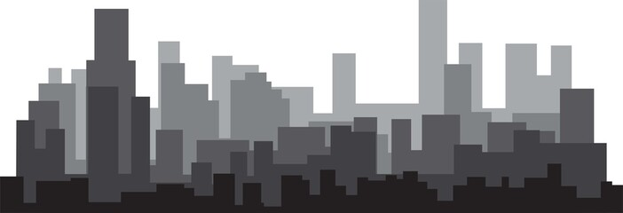Modern City Skyline on white background. Real estate business concept.