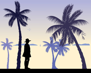 Young sexy girl is standing and waiting for someone on the beach, one in the series of similar images silhouette