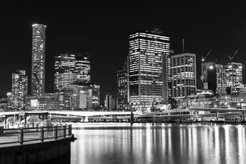 Brisbane City night cityscape from South Brisbane. Black and White