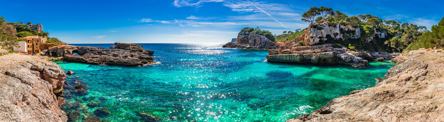 Wall Murals Panorama Photos Island scenery, seascape Spain Majorca, beach bay Cala s'Almunia, beautiful coastline Mediterranean Sea