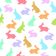 Rabbits background, Easter bunny color seamless pattern, hand