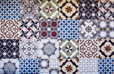 Different types of many Mediterranean / Aegean tiles. Captured in Bodrum peninsula / Turkey. True reflection of culture and lifestyle.