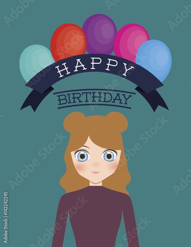 Happy Birthday Card With Anime Girl And Balloons Colorful Design