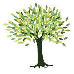 Green tree on white stock vector illustration