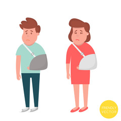 People with broken arm. Injured man and woman with sling. Vector Illustration