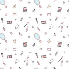 cute cartoon beauty mix seamless vector pattern background illustration with cream, make up, mirror and tools
