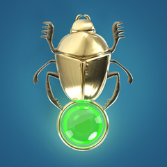 ancient Egyptian Scarab precious glossy with gem orb isolated render