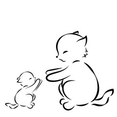 Vector outline drawing cat and kitten on white background