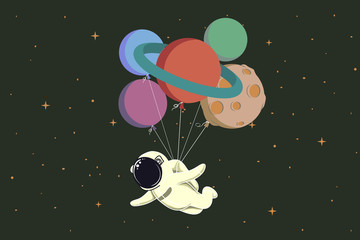 spaceman flying with balloons like a planets