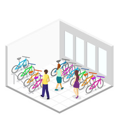 Isometric flat 3D isolated concept vector interior of bicycle shop