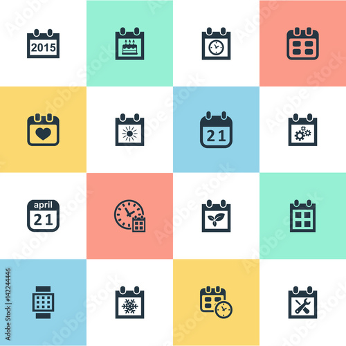 Vector Illustration Set Of Simple Date Icons Elements Heart Snowflake Plant And Other
