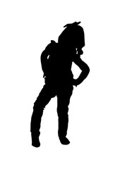 Silhouette girl waiting for a vector  black