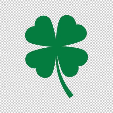 green clover leaf on transparent background, vector illustration