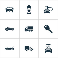Vector Illustration Set Of Simple Transport Icons. Elements Lorry Stop, Auto, Haulage And Other Synonyms Fixing, Tuning And Key.