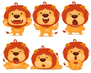 set of emoji lion cat cartoon character