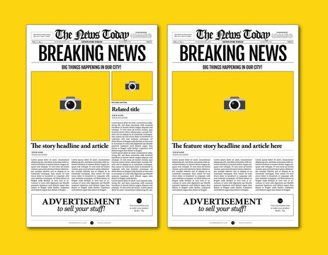 vintage newspaper template designs on yellow background