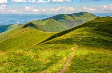 path through a meadow on mountain ridge