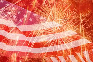 bright fireworks against United States flag