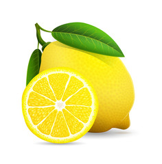 Fresh lemon with leaves isolaed on white background. Vector stock.