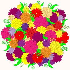 Floral bright colorful background on white stock vector illustration