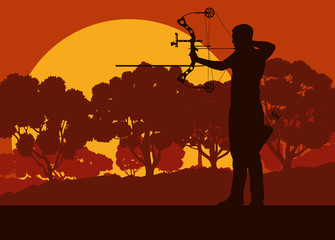 Archer man with bow outdoor training in front of forest trees vector background
