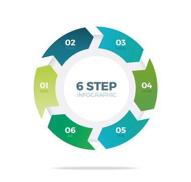 Six step circle infographic