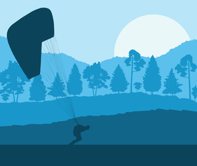 Paragliding jump landscape vector background for poster