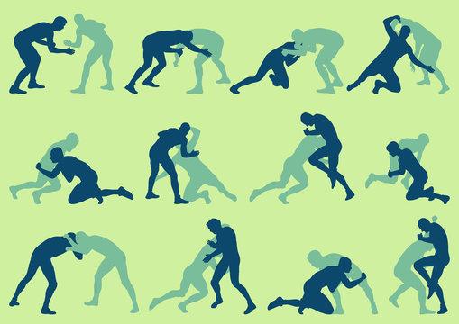 Wrestling active men fight action greek roman sport silhouette vector