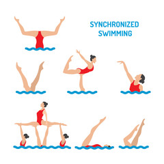 set of vector elements in the womens synchronised swimming illustration in flat style isolated on white background.