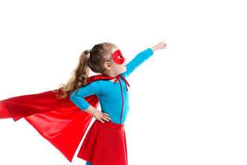 Little girl superhero in a red cloak and mask isolated on white background.