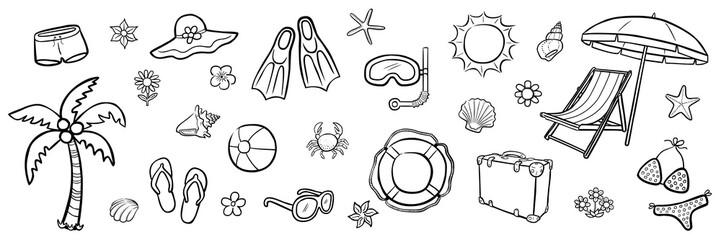 Illustrations-Set: Sommer / schwarz-weiß, handgezeichnet, Vektor, freigestellt
