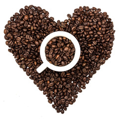 Cup of coffee beans on heart of coffee beans
