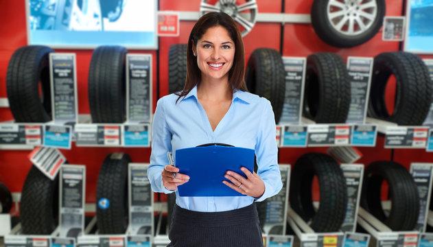 Car dealer woman