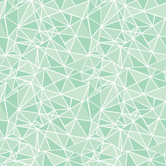 Vector Mint Green Geometric Mosaic Triangles Repeat Seamless Pattern Background. Can Be Used For Fabric, Wallpaper, Stationery, Packaging.