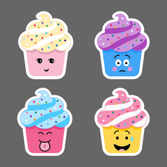 Set of cupcake emojis icons