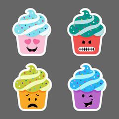 Set of cupcake emojis icons