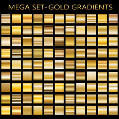 Set of gold gradients.Metallic squares collection,Vector illustration.