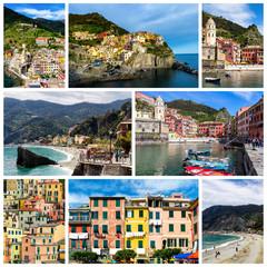 Collage of Cinque Terre photos in Italy (Vernazza, Manarola, Monterosso al Mare, Corniglia, Riomaggiore)