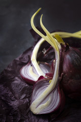 Halved red onion