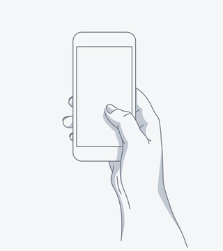Hand holds the phone. Line art modern vector illustration. Template for your design.