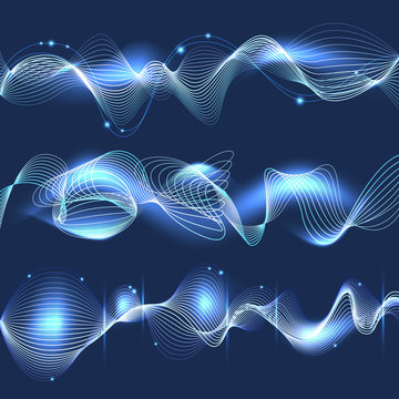 Abstract blue shining wave background. Vector illustration Vector soundtrack symbols, soundwaves shapes. Soundtrack musical wave illustration