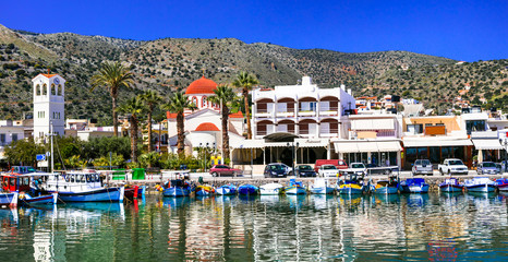 Beautiful places of Crete island - pictorial fishing village Elounda. Greece