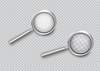 Magnifying glass isolated on a transparent background. The reflection of light and glare.Beautiful black handle.For those who have difficulty seeing.vector illustration.