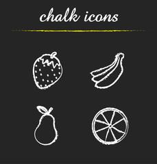 Fruit chalk icons set