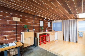 Rustic dining room in a bright cabin. Interior design.